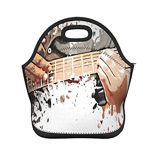 ADONINELP Bolsa de almuerzo con aislamiento para mujeres y hombres, escena cercana de un hombre tocando su guitarra, bolso de mano con aislamiento térmico resistente al agua, lonchera, enfriador de a