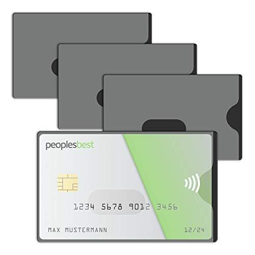 RFID & NFC Blocker Kreditkarten-Schutzhülle (4 Stück) | stabile EC Kartenhülle aus Kunststoff | TRANSPARENT | gegen Datenklau und unerlaubtes auslesen | super dünn & reißfest für 100% Datenschutz