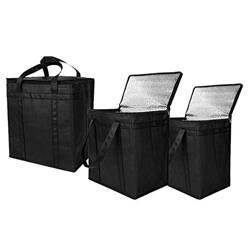 Kuinayouyi Paquete de 3 bolsas de comestibles reutilizables aisladas con doble cremallera