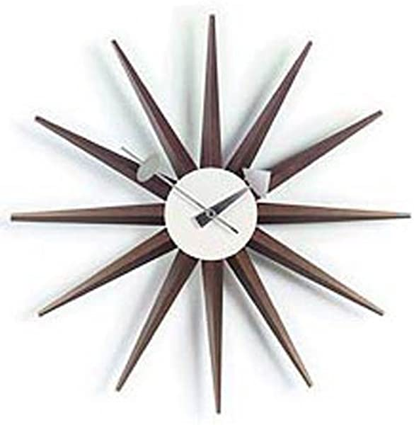 Telechron Classic Wooden Sunburst Clock Walnut
