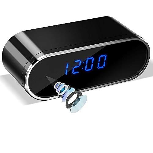 Reloj despertador con cámara espía de Mofek como dispositivo antirrobo con 1080P para grabaciones de video / foto, detección de movimiento, visión nocturna / función de alarma, cámara de vigilancia
