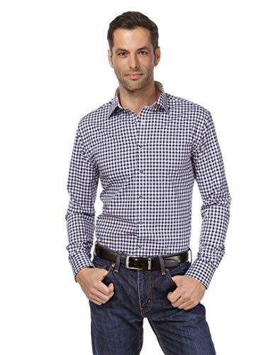 Vincenzo Boretti Herren-Hemd bügelfrei 100% Baumwolle Regular-fit kariert New-Kent Kragen - Männer lang-arm Hemden für Anzug Krawatte Business Hochzeit Freizeit dunkelblau 41-42