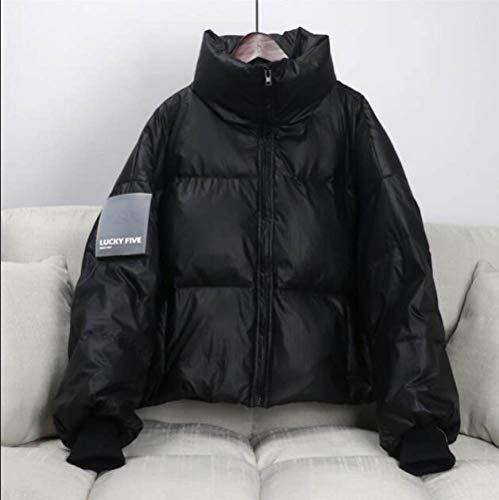 SJIUH Chaqueta de plumón, 90% de pato blanco chaqueta de invierno para mujer, cuello alto, capa gruesa, suelta, de gran tamaño, para mujer, corto, negro, L