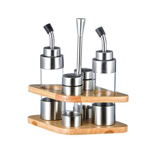LoveOlvido Dispenser di aceto di Olio da Cucina in Acciaio Inossidabile Dispenser per Bottiglie Shaker Salsa Conservazione Utensili da Cucina con Base in Legno rombo - Argento
