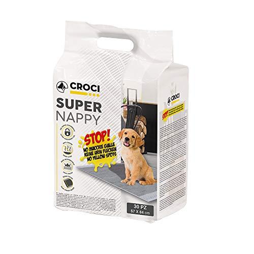 CROCI SUPER NAPPY, Tappetino Ultra Assorbente con Carbone Attivo, Anti Odore, Anti Macchia, Set di 30 unità, Formato 84x57