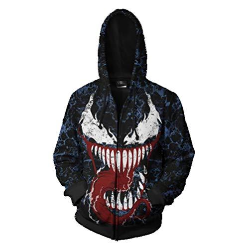 Saco Película traje de Adolescentes cremallera sudadera con capucha del hombre araña Cosplay for hombre Halloween for adulto Superhéroe pulóver sudadera Jersey de cosplay ( Color : Venom , Size : S )