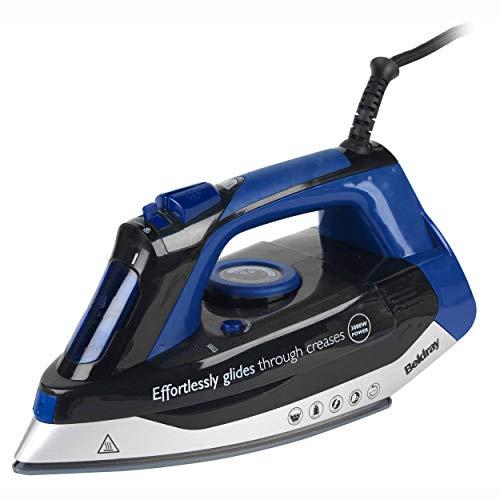Beldray BEL0562-VDE Max Steam Pro strijkijzer met eurostekker, 380 ml, 3.000 W, zwart/blauw, keramiek, zwart/blauw, één maat