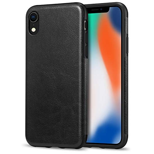 TENDLIN Compatible with iPhone XR Case Premium Leather Outside and Flexible TPU Silicone Hybrid Slim Case Compatible with iPhone XR - 2018 (Black)