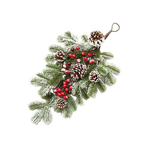 ABOOFAN Christmas Teardrop Wreath Artificial Front Door Swag Snow Flocked Christmas Door Wreath with Pine Cones Red Berry for Christmas Door Wall Decorations Green