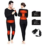 Thermal Underwear Set Thermal Shirts Heated Long Johns for Men Heated Underwear Women Rechargeable Battery Heated Sweatshirt Winter(L) Black