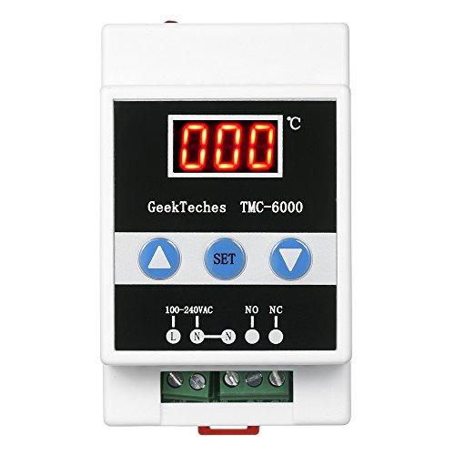 KKmoon TMC-6000 110-240V TemperaturaControlador Guía Carril Digital Termostato RefrigeraciónCalefacción 1 Relécon Sensor Sonda