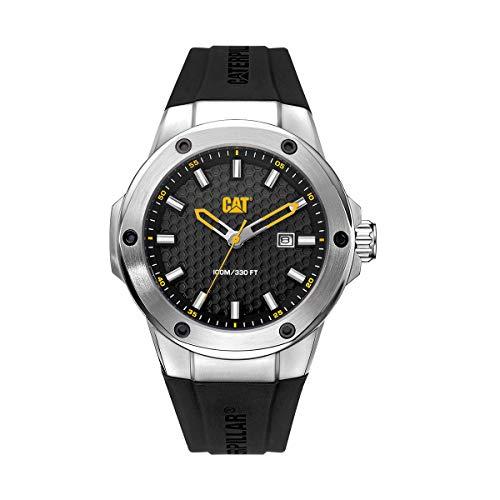 CAT Navigo X - Reloj de pulsera para hombre, carcasa de 44 mm, esfera negra, pantalla de fecha, carcasa de acero inoxidable, correa de silicona negra, esfera negra (AA.141.21.121)