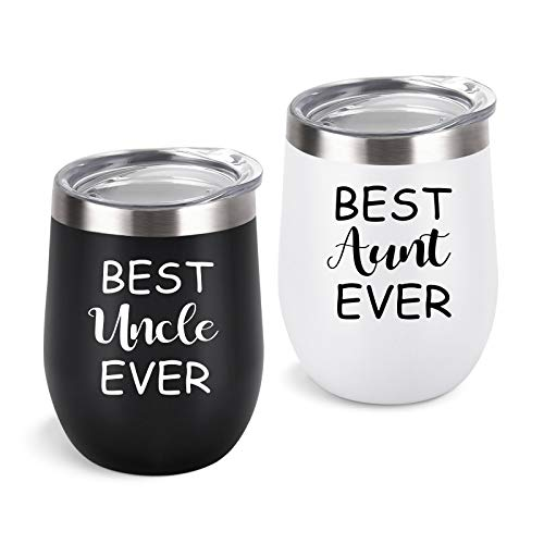 Aunt Uncle Gifts, Best Aunt and Uncle Ever Gift Set, 2 Pack Wine Tumbler with Lid and Straw, Funny Christmas Birthday Gifts for Aunt Uncle, 12 Oz Insulated Stainless Steel Tumbler, Black and White