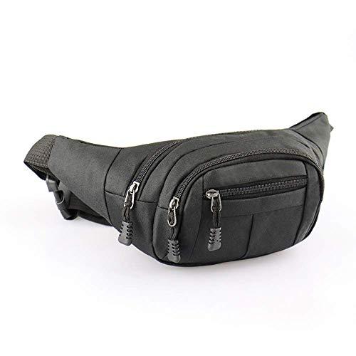 DQMEN Wasserdichte Bauchtasche Multifunktionale Hüfttasche 4 Fächer mit Reißverschluss Geeignet für Reise Wanderung und Alle Outdoor für Damen und Herren (Schwarz)
