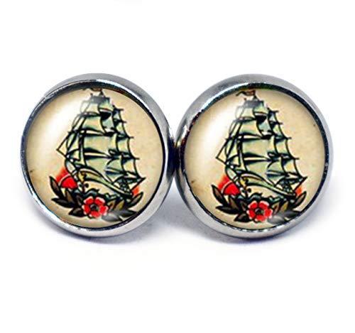 JUANLOWE Segelschiff maritime Ohrringe, Rockabilly Rock'n'Roll Motiv, silberfarbene Ohrstecker aus Edelstahl mit Segelboot, Stecker