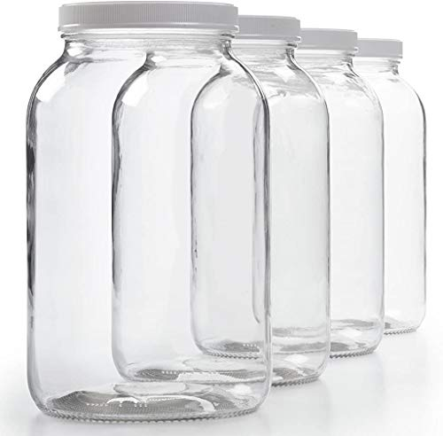 4 Pack - 1 Gallon Glass Jar w/ Plastic Airtight Lid, Muslin Cloth, Rubber Band - Wide Mouth Easy Clean - BPA Free & Dishwasher Safe - Kombucha, Kefir, Canning, Sun Tea, Fermentation, Food Storage