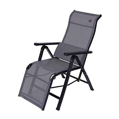WJJJ - Silla reclinable Plegable - Tumbona - Sillones de terraza de Oficina con Gravedad Cero con cojín Lumbar - Gris