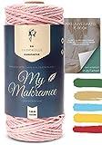 My Makramee - Makramee Garn Hellrosa 3mm x 100m + Makramee Buch zum herunterladen - 100% EU Konform - Makramee Set - Makramee Garn farbig - Makramee Starter Set - Makramee Garn Set
