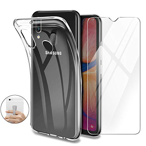 Generico Younme Coque pour Samsung Galaxy A20e, Housse de Protection en Transparente Silicone TPU Souple + Protection d'écran en Verre Trempé [avec Support autoadhésif] pour Samsung Galaxy A20e