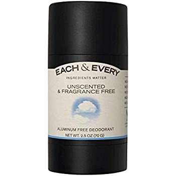 Each & Every Natural Aluminum-Free Deodorant for Sensitive Skin with Essential Oils, Plant-Based Packaging, Fragrance Free, 2.5 Oz.