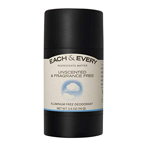 Each & Every Natural Aluminum-Free Deodorant for Sensitive Skin Made with Essential Oils, Plant-Based Packaging, Fragrance Free, 2.5 Oz.