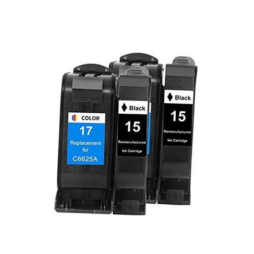 Sustitución de Cartuchos de Tinta remanufacturados para HP 17XL 15XL para Uso con C6625A, Deskjet 810C 840C 825CVR 1120CSE 1120CXI 1120C 1220C 816 825c 840c Cvr 842C 2set