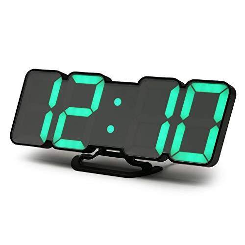 Reloj despertador de voz con mando a distancia 3D colorido LED digital reloj de pared electrónico de escritorio reloj despertador pantalla de temperatura para decoración del hogar regalo negro
