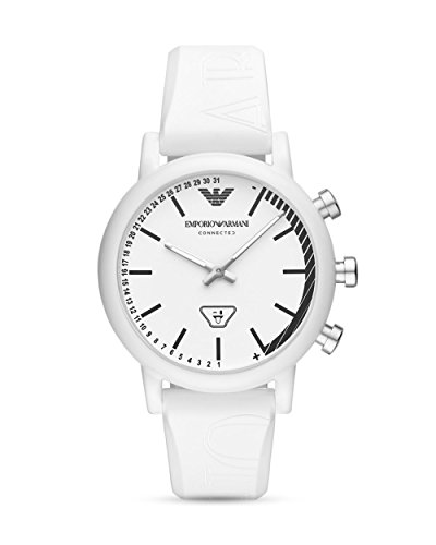 Emporio Armani Herren Analog Quarz Smart Watch Armbanduhr mit Silikon Armband ART3025
