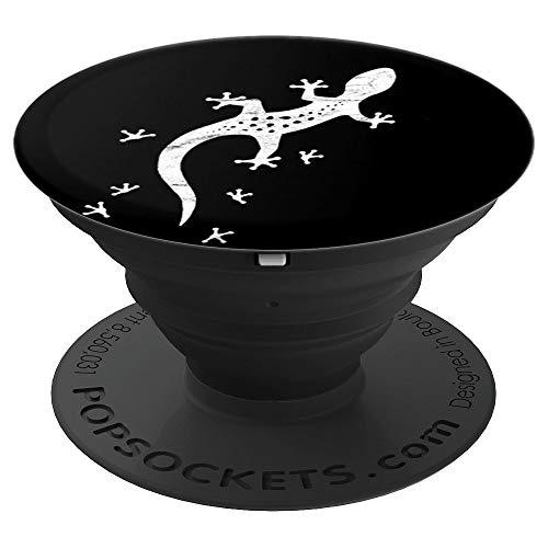 Retro Salamander mit Spuren | Cooles Leopard-Gecko - PopSockets Ausziehbarer Sockel und Griff für Smartphones und Tablets