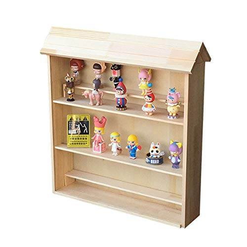 SNH Three Floors Doll House Bubble Matt Wall Hanging Storage Display Cabinet Jasmine MOIIy Biqi Doll Hand Office Doll Dustproof Wooden Box with Cover 501155 cm