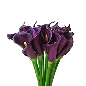 Meide Group USA 25″ Large Handmade Real Touch Latex Calla Lilly Artificial Spring Flowers for Arrangements, Bouquets, Weddings, and centerpieces (Pack of 5) (Dark Purple)
