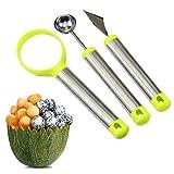 Xrten Set di coltelli da Frutta in Tre Pezzi,Set di scavino per Frutta,Acciaio Inossidabile Coltello per Melone/Coltello da Intaglio