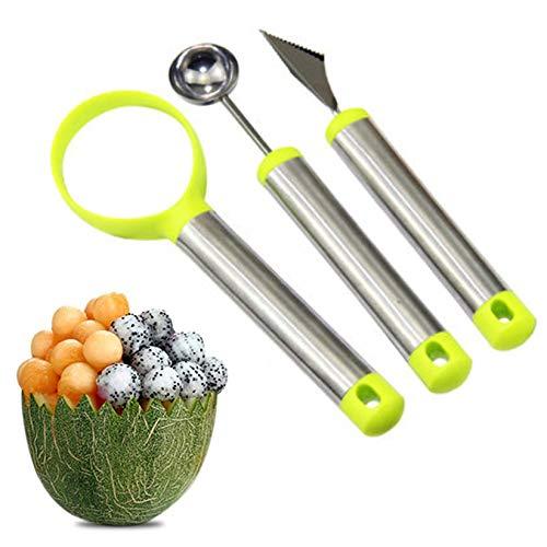 Xrten 3 Pcs Cuchara de Acero Inoxidable Melón Baller para Melón y Hacer Bolas de Fruta, Multifunción
