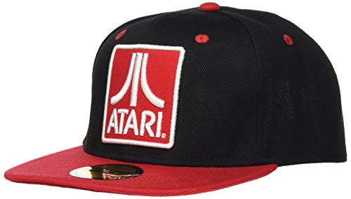 Difuzed Unisex Atari Embroidered Logo Badge Snapback Baseball Cap Baseballkappe, Schwarz (Schwarz Schwarz), One Size