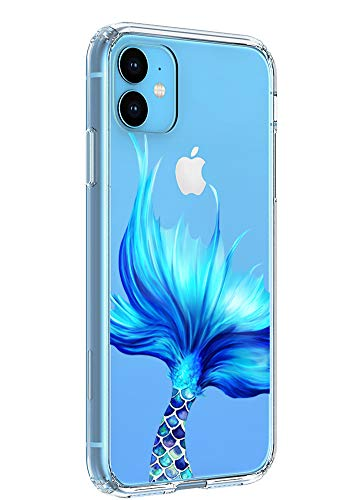 Case for iPhone 11 6.1 inch Case 2019, Ftonglogy Shockproof Cute Clear TPU Back with Floral Flower Pattern Designed Protective Case Cover Slim Fit for Women Girl Clear (Mermaid Tail)