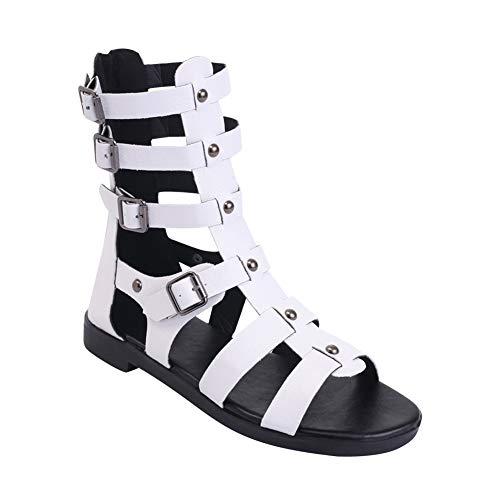Gtagain Zapatos Mujer Sandalias Plano - Gladiador Remache Alta Ayuda Ahuecar Punta Abierta Cremallera Comodidad Boho Vacaciones Verano Playa Zapato