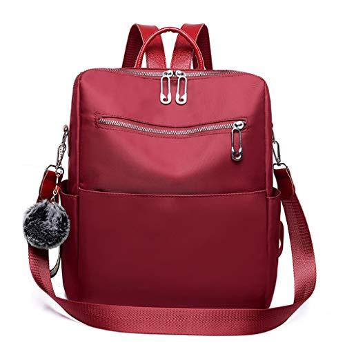 Kofun Rucksack, Vintage-Stil, funkförmig, mit Clipverschluss, Schultertasche, Handtasche weinrot