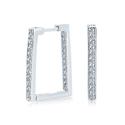 Geometrische Rechteck Quadrat Innen Aus Kanal Einstellen Aaa Cz Große Creolen Von Frauen Zirkonia 925 Sterling Silber