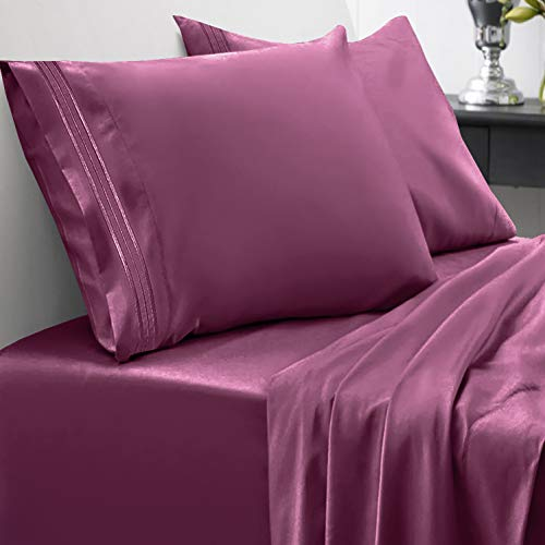 Sweet Home Collection 1800 Thread Count Bed Set Egyptian Quality Brushed Microfiber 4 Piece Deep Pocket Sheets, Queen, Berry