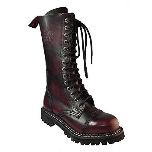 Angry Itch 14 Hoyos Botas de Cuero Militares Color Rojo Borgoña Puntera de Acero Hebilla Punk (45)