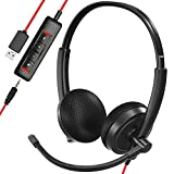 USB Headset, HROEENOI Noise Cancelling Headphones with Microphone, PC Headset Wired for Computer/Mac/Laptop, with USB+3.5mm Jack, in-line Controls for Office Home Business