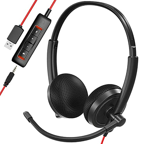 USB Headset, HROEENOI Noise Cancelling Headphones with Microphone, PC...