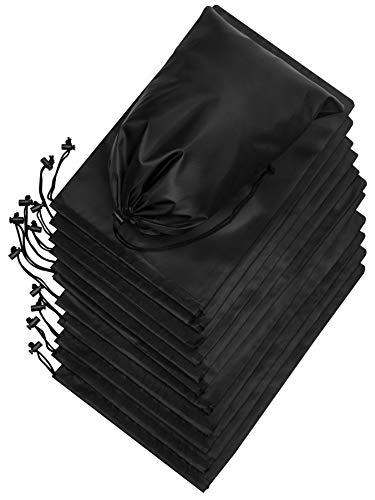 Drawstring Bag - Nylon Cinch and Ditty Stuff Pouch with Toggle for Gym, Sports, Luggage, Storage, Travel - Dopp Kit - Lightweight, Foldable and Compact Multi-Purpose Pack (10 x 15, Black)