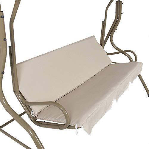 Funda impermeable para silla de jardín al aire libre, para hamaca de jardín, 3 plazas, impermeable, color crema