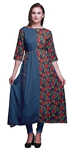 Bimba Rot marokkanisch Mosaik- Print Damen Anarkali Kurti Tunika Designer Lange Kurta indische Bluse XSmall