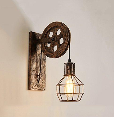 Modeen Kreativ Retro Industrial Style Wandleuchte Loft Style Einstellbare Hebebühne Lights Aisle Korridor Küche Barn Warehouse Wandleuchte Lampe E27 [Energieklasse A +] (Color : Black Gold)