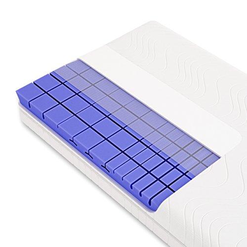 Schlummerparadies® Matratze 3D 7-Zonen Würfelschnitt HR-Kaltschaummatratze - Made in Germany - ca. 19cm Gesamthöhe, RG50, geprüfter Kern + Bezug - LUXUSLINE (90x200cm, H3)