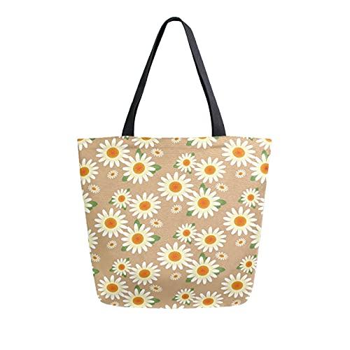 SunsetTrip - Bolsa de lona para mujer, diseño de margaritas con flores y hojas florales, bolsa de hombro reutilizable grande, bolsa de compras con bolsillo interior