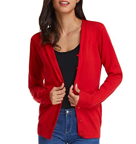 Gilet Femme Courtes Cardigan Femme Bouton Manches Courtes Cardigan Veste Tricotée Soft Rouge L CL2-1