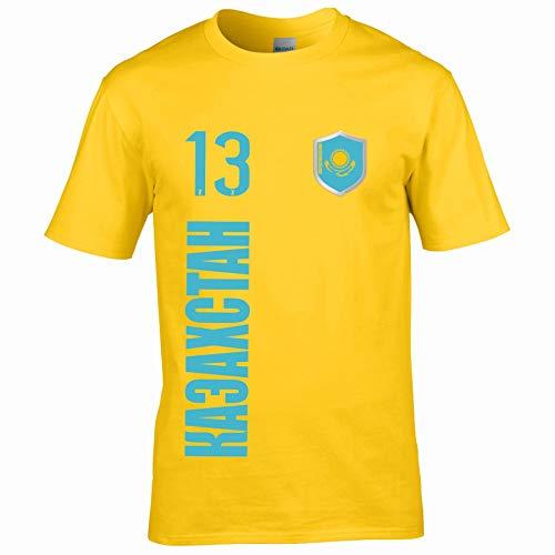 FanShirts4u Kinder Fanshirt Trikot Jersey KASACHSTAN T-Shirt inkl. Druck Wunschname u. Wunschnummer EM WM (12/14 Jahre 152-164 cm, KASACHSTAN - kasachisch/Gelb)